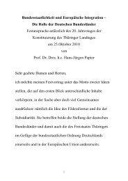 Bundesstaatlichkeit und Europäische Integration – - Thüringer ...