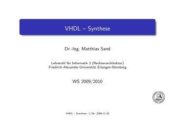 VHDL -- Synthese - Friedrich-Alexander-Universität Erlangen ...
