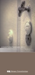 CONDITIONS TARIFAIRES 2012 - CIC