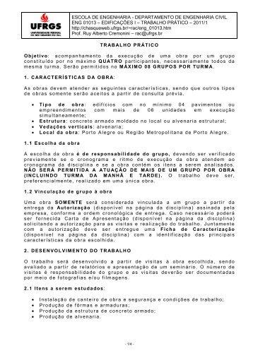 ESCOLA DE ENGENHARIA - DEPARTAMENTO DE ENGENHARIA ...