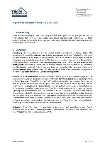 Allgemeine Baubeschreibung - Speckmann Immobilien