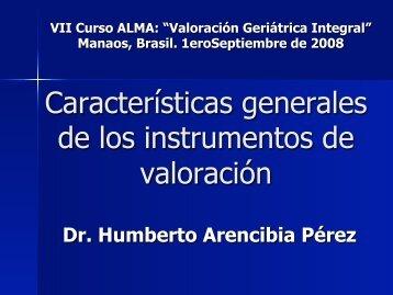 Características generales de los instrumentos de valoración