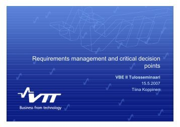 Requirements management and critical decision points