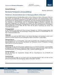 Ausschreibungstext und Bewerbungsformular - Professional School ...
