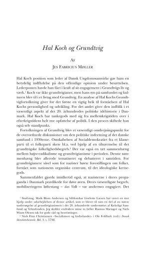 Hal Koch og Grundtvig - Historisk Tidsskrift