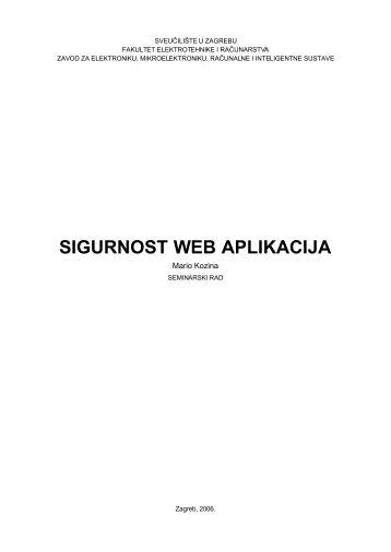 SIGURNOST WEB APLIKACIJA - Zemris - FER