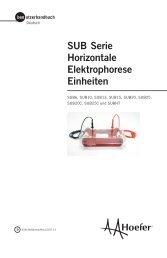 SUB Serie Horizontale Elektrophorese Einheiten - Hoefer Inc