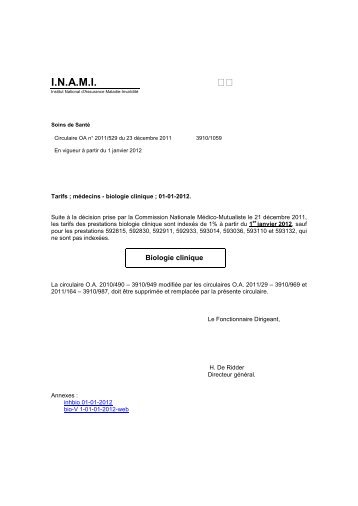 Tarifs des Médecins - A partir du 01/01/2012 - Inami