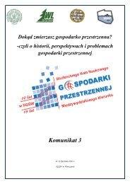Komunikat 3 - Studenckie Koło Naukowe Gospodarki Przestrzennej ...