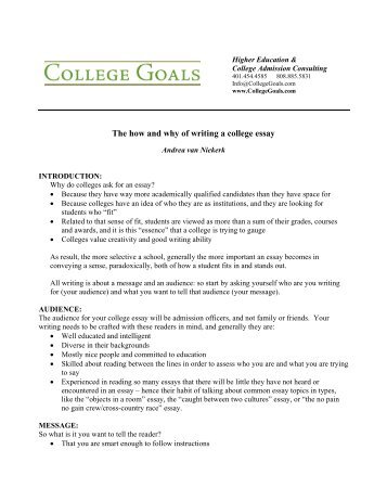 Graduating High School Essay The How And Why Of Writing A College Essay  College Goals Topics For Argumentative Essays For High School also Cause And Effect Essay Thesis An Example Of A Teaching Essay  Goddard Colleges Intranet Essay Proposal Examples