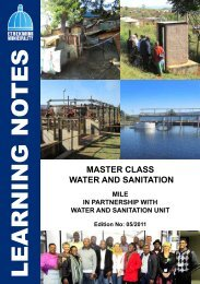Water and Sanitation Master Class Learning Notes - MILE