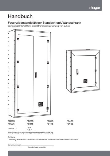 Feuerwiderstandsfähiger Standschrank/Wandschrank - Hager