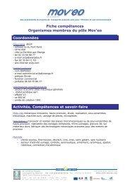 Fiche compétences Organismes membres du pôle Mov'eo ...