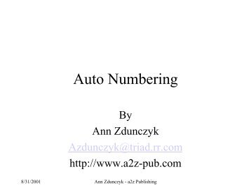 Auto Numbering - Docu + Design Daube