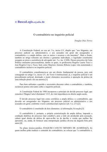 O contraditório no inquérito policial - BuscaLegis
