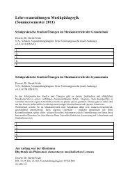 Kommentiertes Vorlesungsverzeichnis MusikPÄDAGOGIK SS 2011