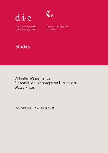 Virtueller Wasserhandel - Deutsches Institut für Entwicklungspolitik
