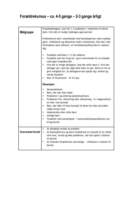 Manual for Forældreworkshoppen - Social Viden til Gavn