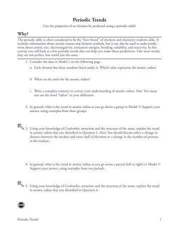 Worksheets Periodic Trends Worksheet periodic trends worksheet heilchem10