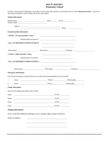 Family Emergency Contact Form - Brownell-Talbot School