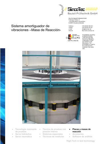 Sistema amortiguador de vibraciones –Masa de Reacción- - SincoTec