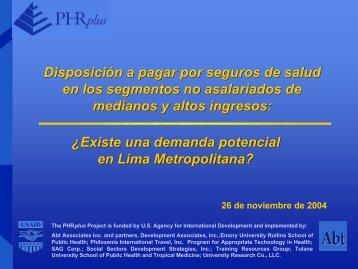 Disposición a pagar por seguros de salud en los ... - PHRplus