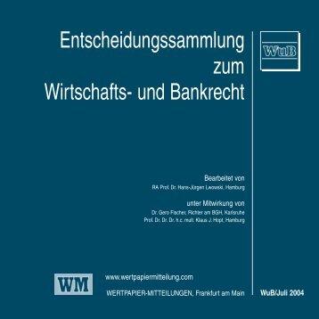 Titel WuB 07.qxd - WM Wirtschafts- und Bankrecht