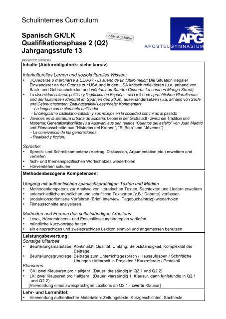 Schulinternes Curriculum Spanisch Gklk Qualifikationsphase 2 Q2