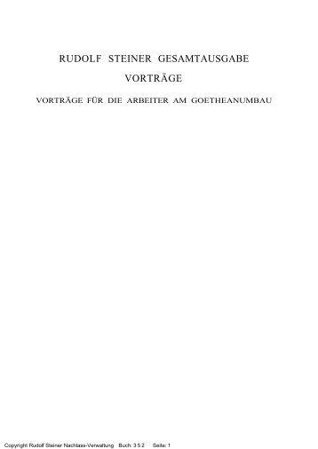 rudolf steiner gesamtausgabe vorträge - Freie Verwaltung des ...