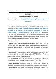 Contrato Social de Constituição de Sociedade Simples Limitada