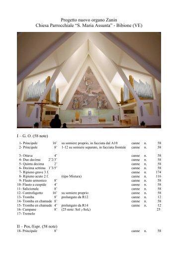 """Progetto nuovo organo Zanin Chiesa Parrocchiale """"S. Maria Assunta"""""""