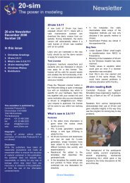 20-sim Newsletter December 2006 Number 28 In this issue