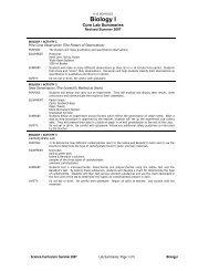 Biology I Core Lab Summaries