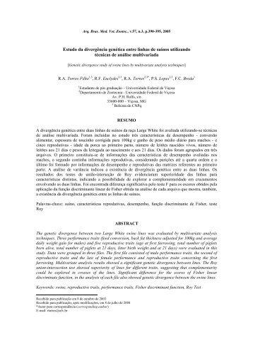 Estudo da divergência genética entre linhas de suínos ... - SciELO