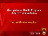Occupational Health Program Safety Training Series Hazard ...