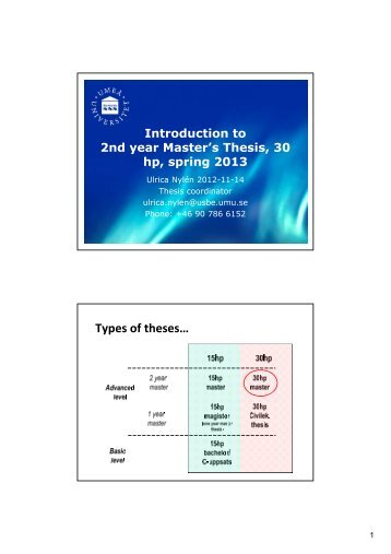 Slides from information meeting for 30 hp master's thesis spring