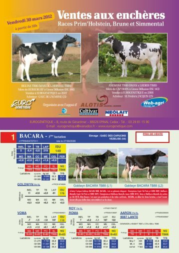 Catalogue de la vente Prim'Holstein - Web-agri