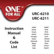 Instruction Manual & Code List URC-6210 URC-6211