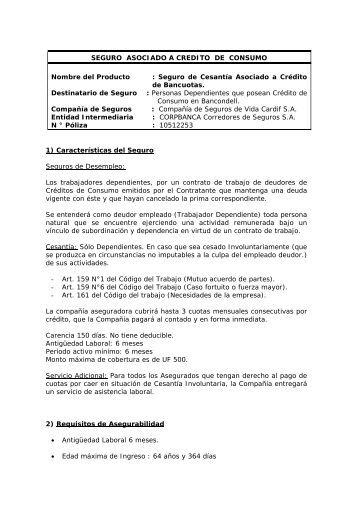 SEGURO ASOCIADO A CREDITO DE CONSUMO ... - Corpbanca