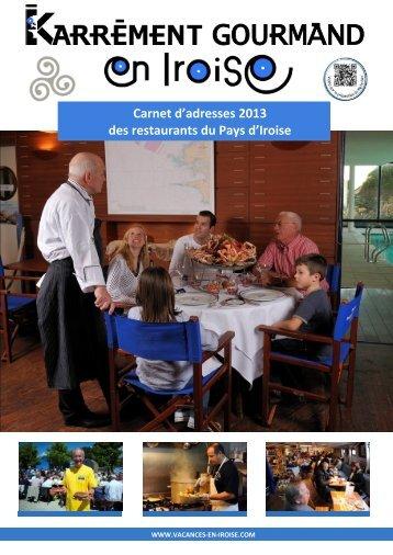Carnet d'adresses 2013 des restaurants du Pays d'Iroise