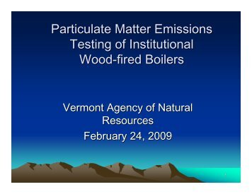 Particulate Matter Emissions Testing of Institutional Wood-fired Boilers