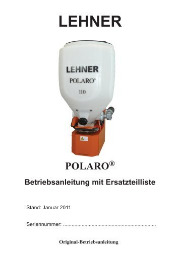 3 POLARO® bedienen - Lehner Agrar GmbH