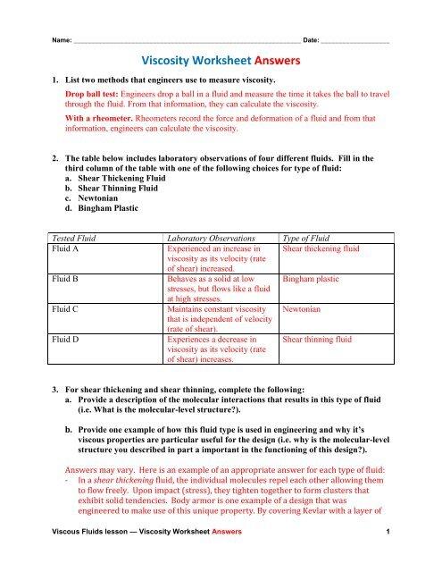 Viscosity Worksheet Answers Pdf Teach Engineering