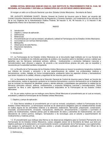 NORMA Oficial Mexicana NOM-001-SSA1-93, Que insti