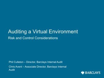 Phil Culleton/Chris Avent, Virtualisation - Isaca