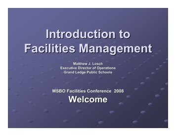 Introduction to Facilities Management - Michigan Institute for ...