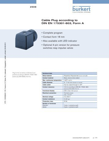 Cable Plug acc. to DIN EN 175301-803, Form C - Fine Controls