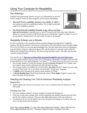 Readability Software And A Website - UNM Hospitals