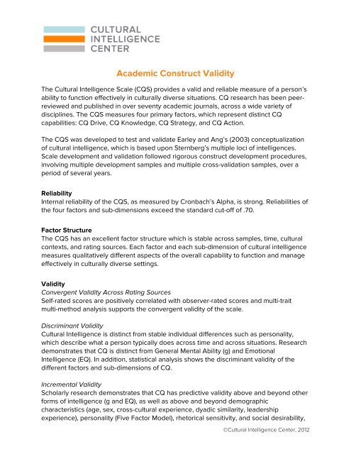 Academic Construct Validity - Cultural Intelligence Center