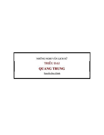 Những Nghi Vấn Lịch Sử Triều Đại Quang Trung / Nguyễn Duy Chính